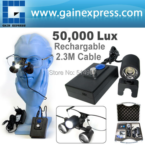 Dental Surgical LED Head Light Lamp for Loupes Dentist High Quality 2.3m Cable Length + Rechargeable Li-Ion Battery (100V~240V)
