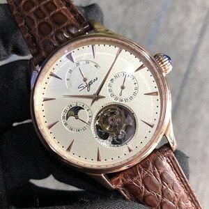 Image 1 - Многофункциональные Мужские механические часы ST8007 с полым турбийоном, маленькие часы с 24 часовым циферблатом, деловые часы для мужчин