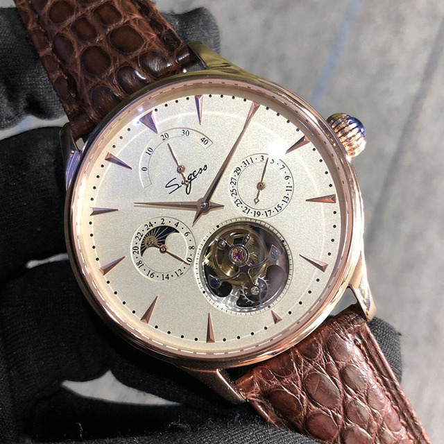 Многофункциональные Мужские механические часы ST8007 с полым турбийоном, маленькие часы с 24 часовым циферблатом, деловые часы для мужчин