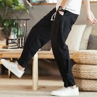 Plus Size Hip Hop Pants For Man Elastic Urban Streetwear Clothing Japanese Trousers Casual Workwear Hemp Pants Male Linen 5XL