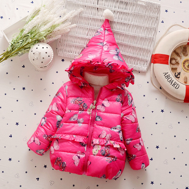 2016 Winter clothes girls thick warm coat baby girls cotton hooded jacket Kids 2-5 years old trend paragraph Princess outwear