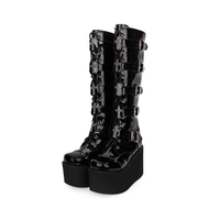 Angelic imprint PU Leather Round Toe Punk style Lolita boots Knee Lace Up High Boots Stars Lolita Shoes size 35 46 7008