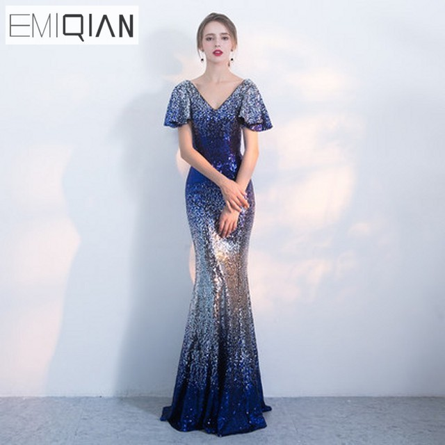 21b0368ac4 US $129.0 |NEW Beaded Mermaid Formal Prom Party Dress Gradient Sequin Long  Evening Dresses-in Evening Dresses from Weddings & Events on Aliexpress.com  ...