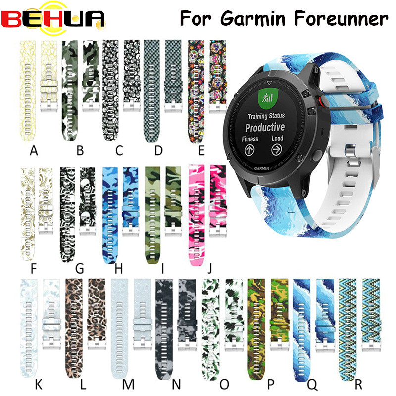 Hot Quick Release Wrist Band Watch Strap for Garmin Fenix 5 forerunner 935 GPS Watch Printed Fashion Sports Silicone Watchband
