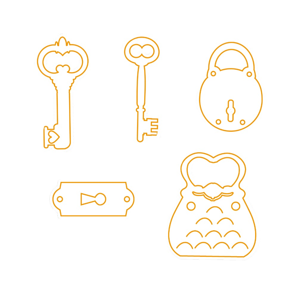 AZSG Key Lock 5 Pcs Die Cutter Dies Stencils for DIY Scrapbooking  Decorative Craft Photo Album Embossing Paper Card.