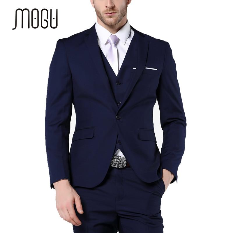 MOGU 2017 New Slim Fit Mens Suits Three Piece Navy Bue Suit Mens Wedding Suits Mens Blazer Pants Vest