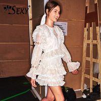 Gosex/Новинка 2019 года, кружевное мини платье трапециевидной формы с оборками и оборками, милое кружевное платье с цветочным принтом