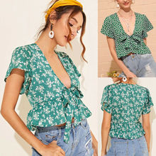 Women Summer Blouse Floral Wide Sleeve Ruffle Low-cut Tops Ladies Casual V Neck Top Blouse Shirt Vintage ruffle detail wide cuff trapeze pinstripe blouse