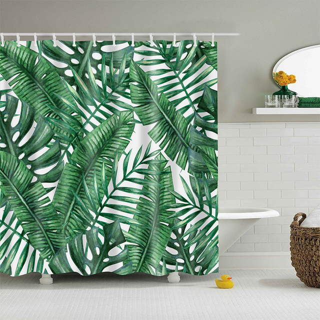 Green Banana Leaf Shower Curtain Tropical Plants Printing Custom For Bathroom Waterproof Polyester