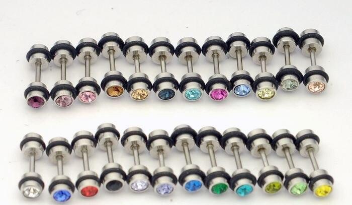 ★  4 мм двойное сверло из титановой стали серьги-гвоздики серьги гантели 24 цвета ✔