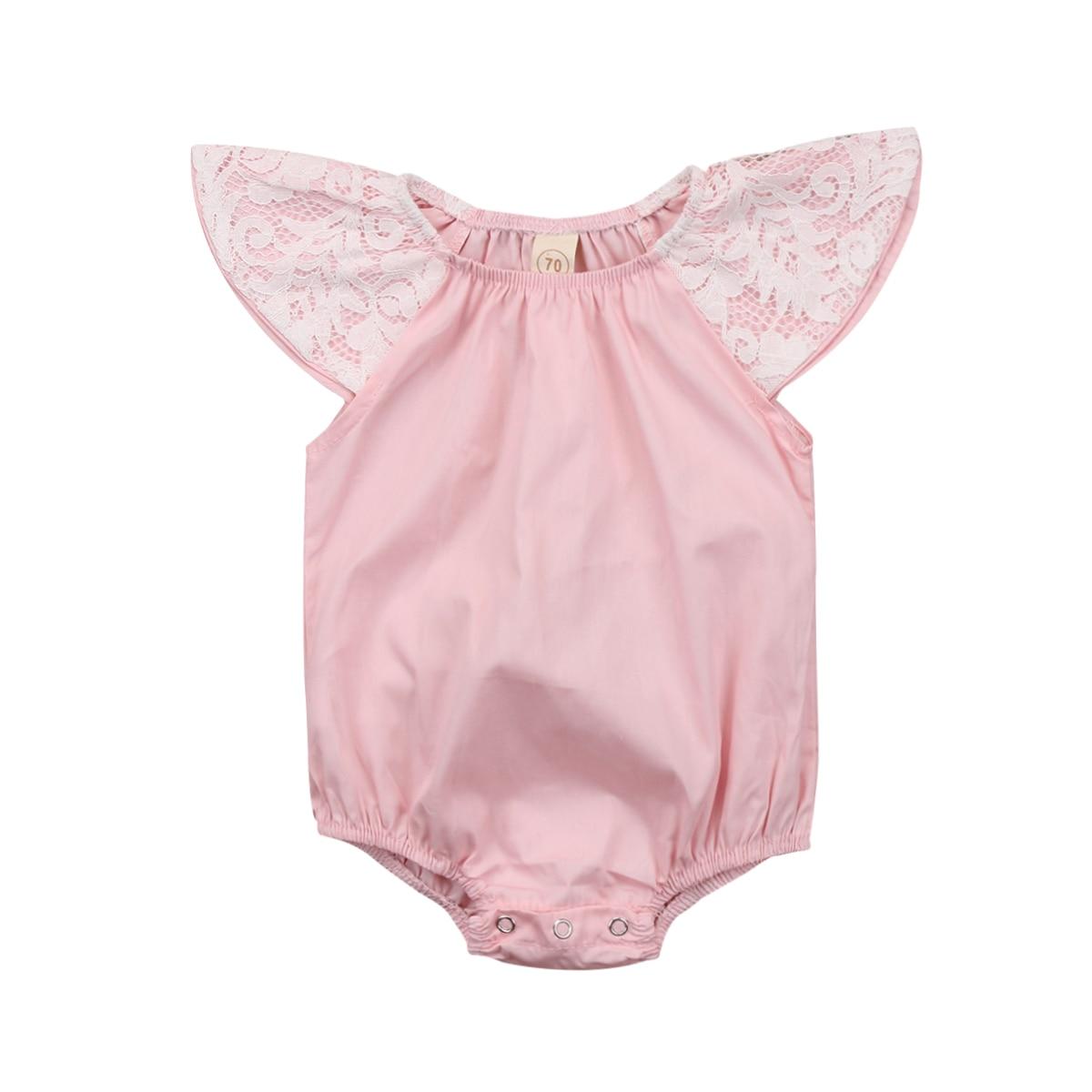 Newborn Baby Girls Lace Floral Romper Jumpsuit Jumper Outfits Sunsuit