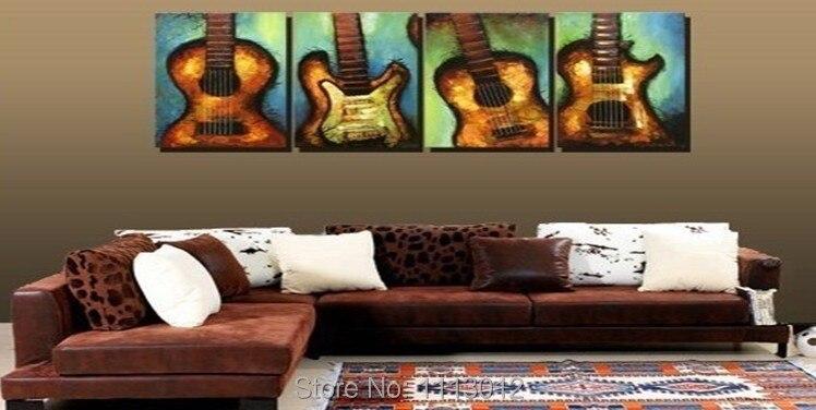 Ручная роспись четыре Тип линия музыка Гитары картина маслом на холсте Абстрактная 4 Панель Наборы для ухода за кожей дома стены Искусство Д...