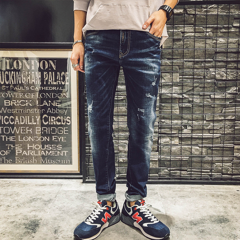 a0921845698 Mens Cotton Dark Blue Jeans Men s Slim Fit Ripped Jeans Pants Men Stretch  British Style Clothing Wholesale 079-in Jeans from Men s Clothing on ...