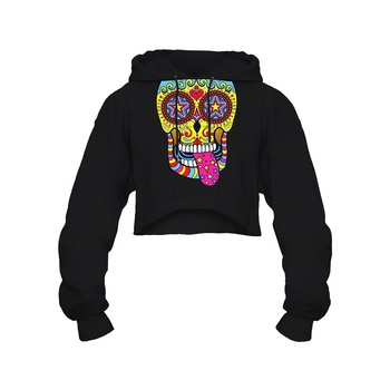 Gothic Skull Short Hooded Hoodie Women Pullover Loose Streetwear 2 Patterns