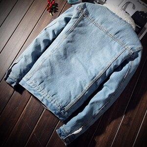 Image 3 - Idopy męska kurtka dżinsowa z futrzanym podszewką gruby, ciepły płaszcz z polaru Jean odzież wierzchnia dla mężczyzn
