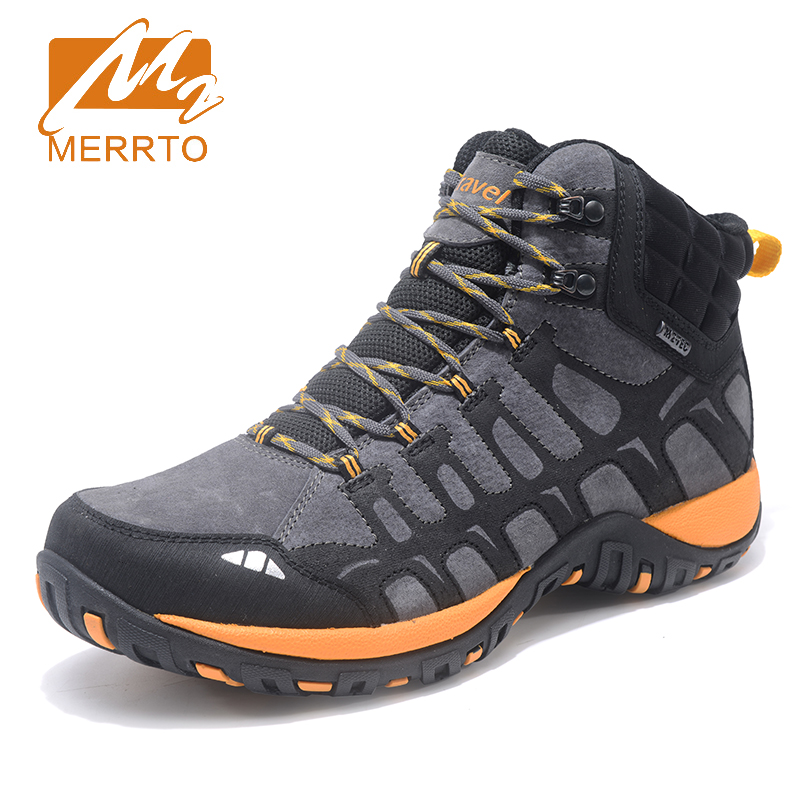 2017 Merrto Plus Velvet Mens Breathable Hiking Shoes Warmth Outdoor Sports Shoes Climbing Shoes For Men Free Shipping MT18690 2017 mens hiking shoes breathable rock climbing camping outdoor sports shoes for men army green black free shipping c101