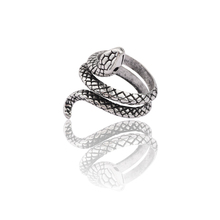 Vintage Punk Animal Ring Men Silver Snake Rings For Women Hip Hop Adjustable Finger Cool Man Male Biker Party Jewelry Anel