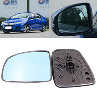 For Honda City 2008 2017 Side View Door Mirror Blue Glass With Base Heated 1 Pair