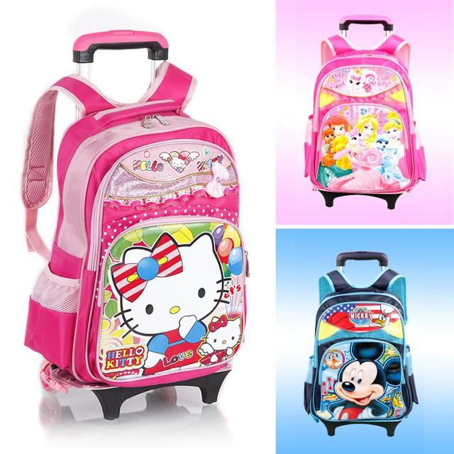 Lovely Cat cartoon boy Girls baby Trolley School Bags Backpack with Wheel  Children Travel Luggage mochila f8070d2312ad9