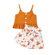 1-4T Newborn Baby Girl Floral Outfit 2Pcs/Set Solid Button Ruffle Flared Sling Tops Lace-up Floral Short Pants Summer Clothing