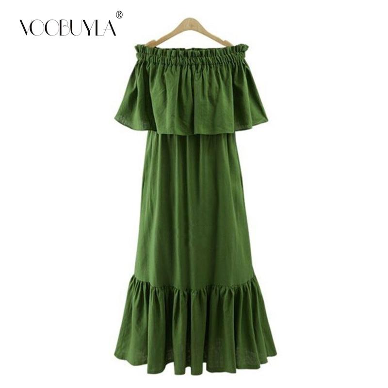 be1183001a7a Voobuyla Sexy Women Off Shoulder Long Maxi Dress 2018 Summer BOHO Ruffle  Plus Size Dress Party