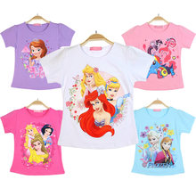 Baby Girls Summer Tops T-shirt my Clothes little pony Cotton Sofia T shirt Princess Belle Cartoon Short Sleeve 3-5 Kid 6-8 Girl(China)