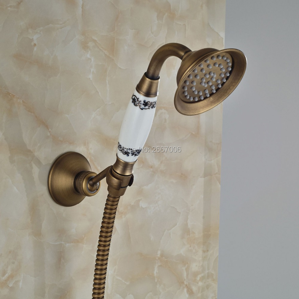 Free Shipping Euro Bathroom Faucet Accessories Set Antique Black Bronze Ceramic Handheld Shower+Shower Bracket+1.5m Hose GI1316