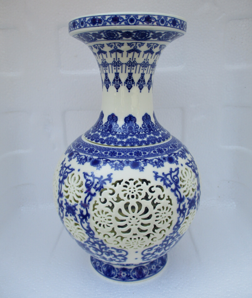 H11 Inch Home Decoration Chinese Antique Openwork Porcelain Vase