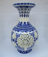 H:11 inch Home Decoration Chinese Antique Openwork Porcelain Vase/Classic White and Blue Ceramic Vases /Double layer vase