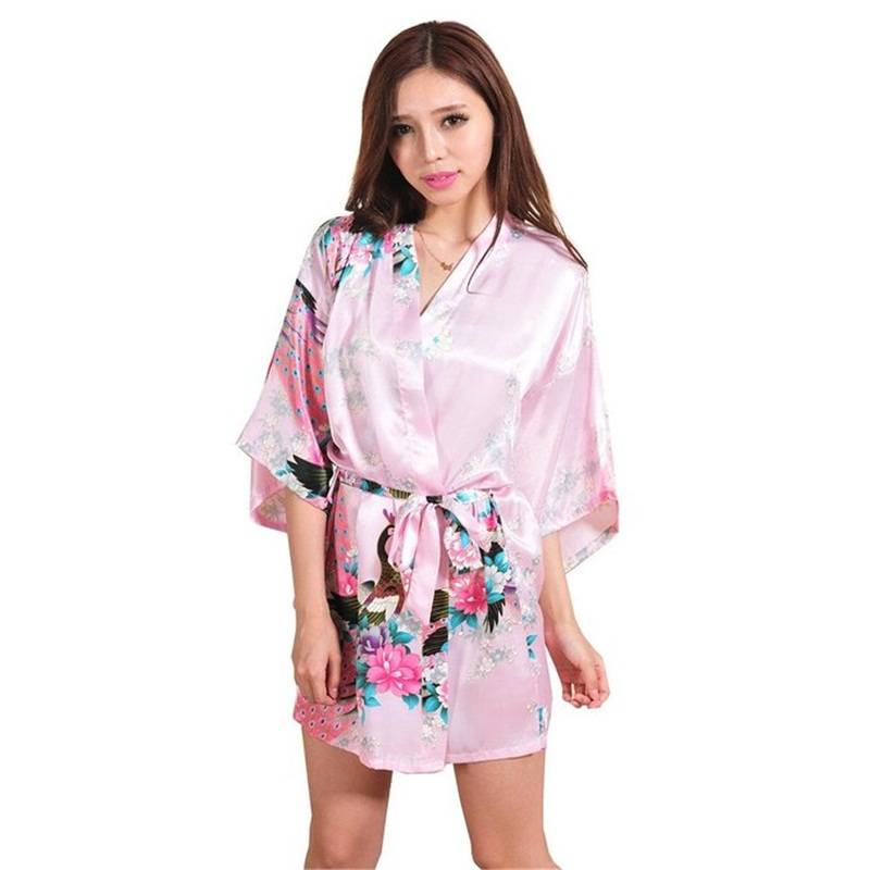 New Pink Sexy Mini Lady Summer Bath Robe Gown Silk Rayon Kimono Yukata Dress Flower Nightwear Size S M L XL XXL XXXL A010