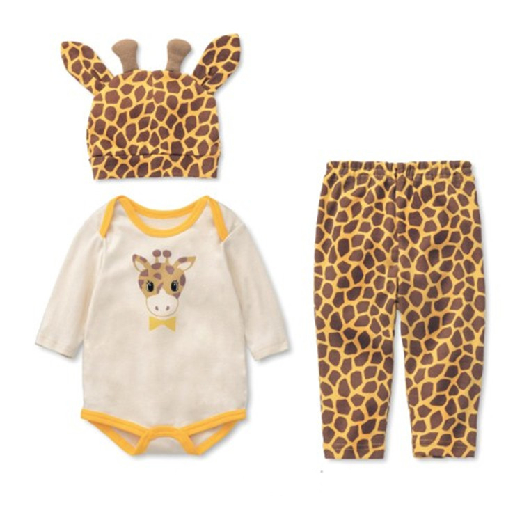 Baby Rompers Cotton Infant Baby Jumpsuites Cartoon Animal Newborn Baby Girl Clothes Romper+Hat+Pant 3pcs Baby Girls Clothing Set newborn baby girl rompers cute cartoon animal print clothes cotton long sleeve clothing set infant costumes baby boys clothes