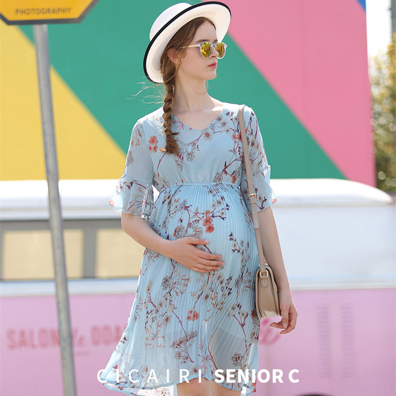 Maternity Dress New 2018 Summer Pregnancy Clothing V-neck Chiffon Maternity Print Pleated Dresses for Pregnant Wome