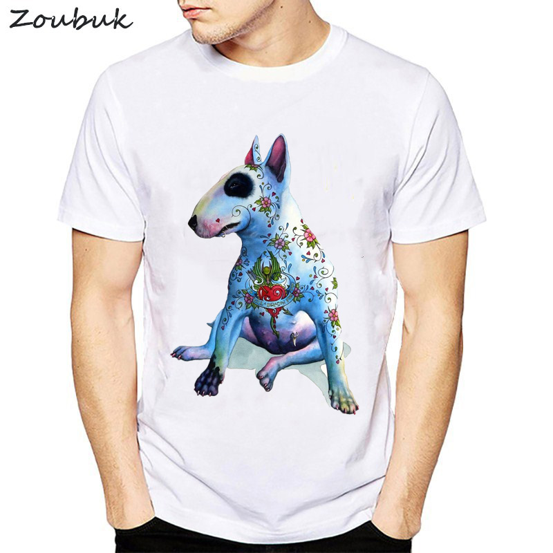 Summer miling Bull Terrier T Shirt Men Cotton Loose Short Sleeve Tee shirts Geek Style Cool Casual Man's T-shirts Tops