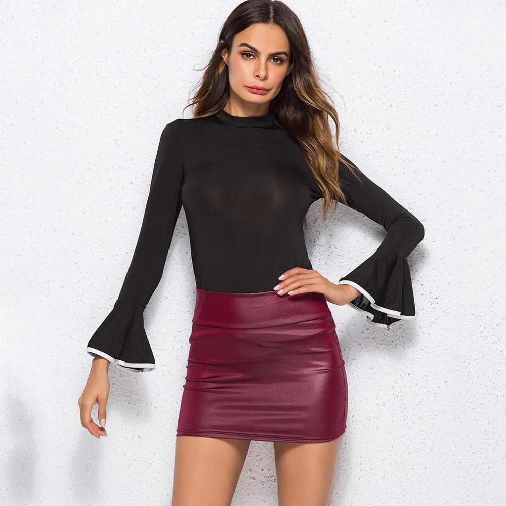 Wanita PU Kulit Rok Merah Tinggi Pinggang Slim Pensil Rok Vintage Bodycon Rok Sexy Clubwear