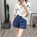 New Fashion Stripe Embroider Applique Dog Patterned Pocket High Waist Women Denim Shorts Female Jeans Shorts Jeans for Summer