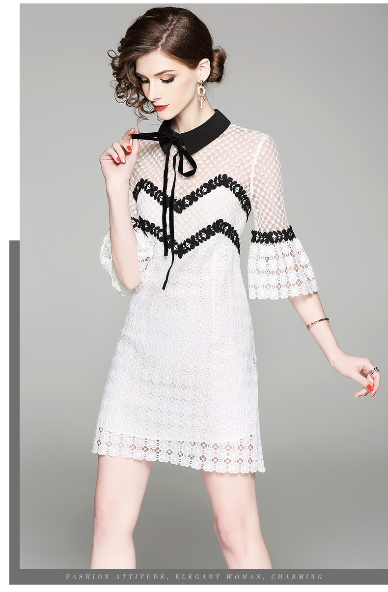 Hollow Out Sexy Solid Mini White Lace Dresses 2018 Summer New Elegant Party Vintage Bow Tie Black Peter Pan Collar Women Drees ...
