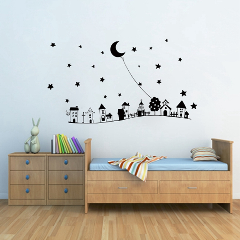 European style Large size free shipping Goodnight Moon & Star vinyl decorative wall stic ...