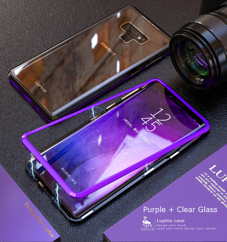 LUPHIE Magnetic Case For Samsung Galaxy Note 9 Clear Glass Magnet Case (10)