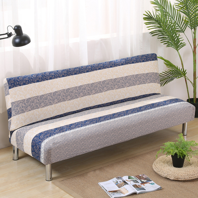 Modern Multifunctional Elastic Slipcovers For Armless Sofa Bed Two Seater Foldable Covers Wrap The