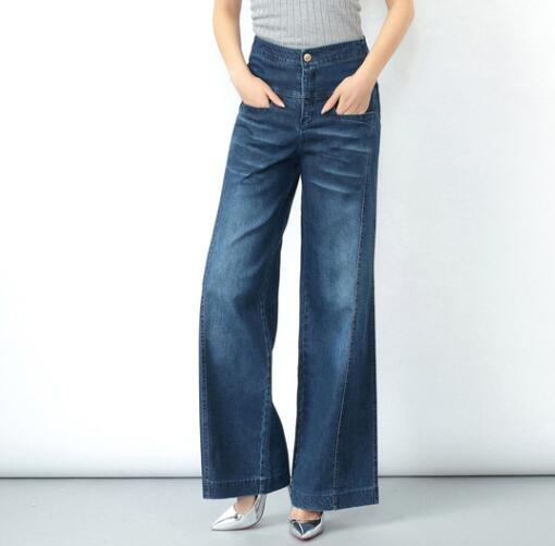 Wide leg pants for women plus size casual denim jeans full length high waist spring autumn new fashion trousers female ayl0701 plus size casual loose wide leg pants summer new women s boyfriend spliced holes blue jeans high waist ankle length trousers