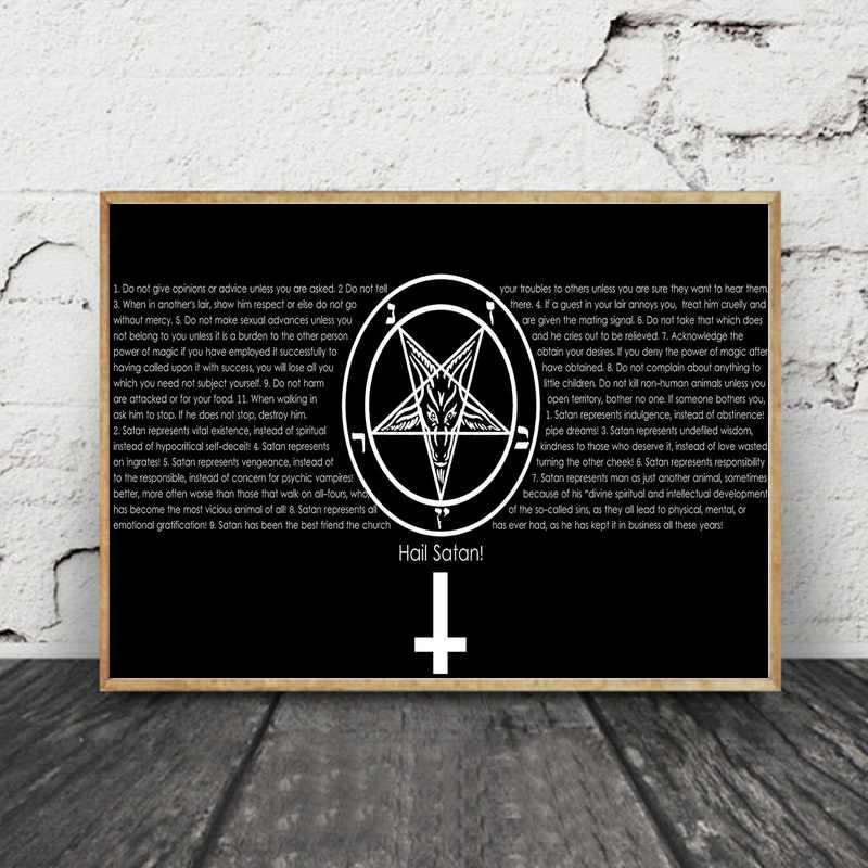 Dark Horror Gothic Occult Satan Penta Symbol Art Canvas Poster Prints Home Wall Decor Painting 24x36