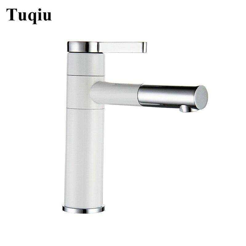 Mitigeur de lavabo 360 degrés rotation Type robinet de lavabo blanc et argent finition chrome robinets de salle de bain simple main salle de bain
