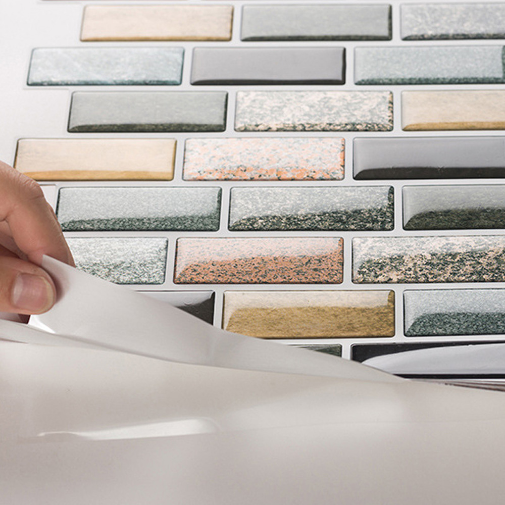 31x31cm Mosaic Brick Self Adhesive DIY 3D Tiles Wall Decal Sticker PET Wall Stickers Kitchen Bathroom Home Decoration