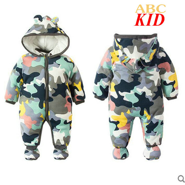 Nacido recien camuflagem roupas de inverno do bebé roupa infantil macacão de bebê dos desenhos animados inverno romper macacões menino snowsuit KD069