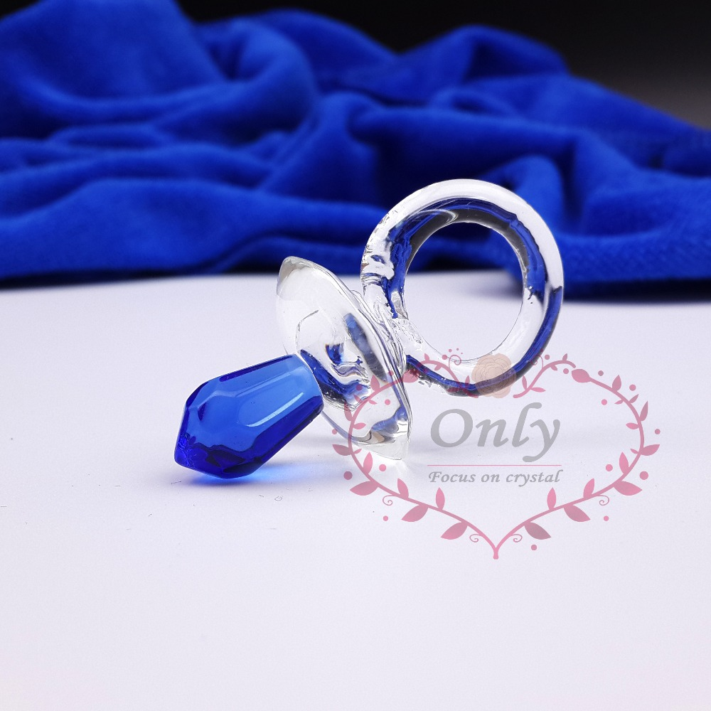 Free Shipping 50PCS LOT Pink Blue Crystal Glass Cute Crystal Pacifier Baby Shower Favors Gift