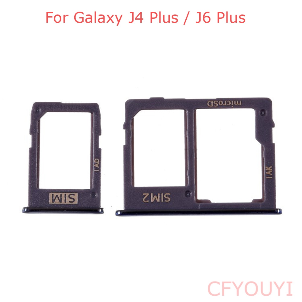 For Samsung Galaxy J6+ J610F J6 Plus/J4+ J415F J4 PLUS 2018 SIM Card Tray Slot Holder Replacement Part J610 J415