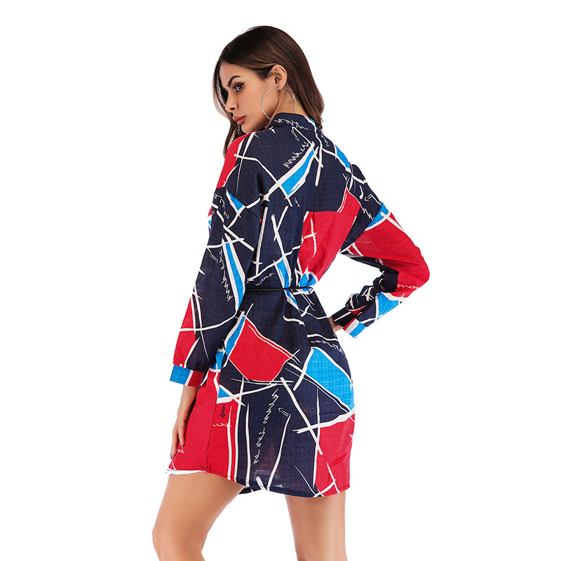 2019Women geometric Print Casual Blouse Bohemian Chiffon stand Street wear Elegant Office Lady Spring Autumn Shirts dropshopping in Blouses amp Shirts from Women 39 s Clothing