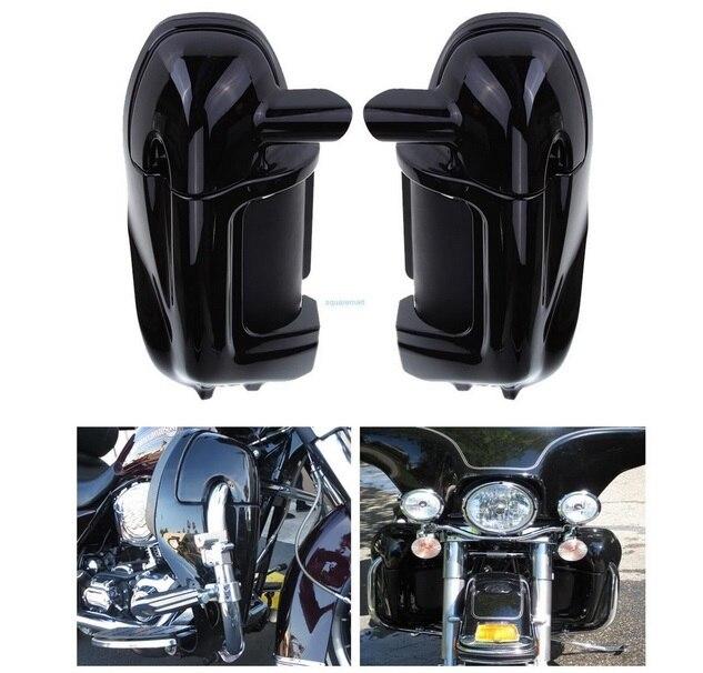 New Painted Black Bassa Ventilato Leg Carenatura Glove Box Per Harley Road King Tour Electra Glide FLHT FLHR