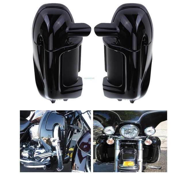 New Painted Black Bassa Ventilato Leg Carenatura Glove Box Per Harley Road King Tour Electra Glide FLHT FLHR