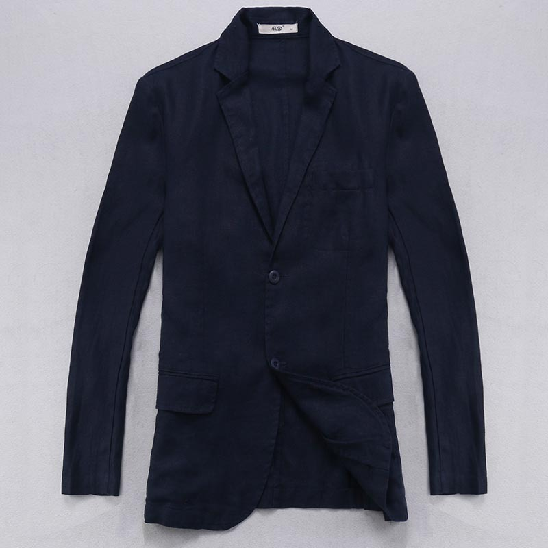 100 Linen Jacket Men Long Sleeve Flax Blazer Men Casual